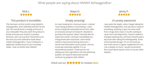 HANAH Ashwagandha Reviews