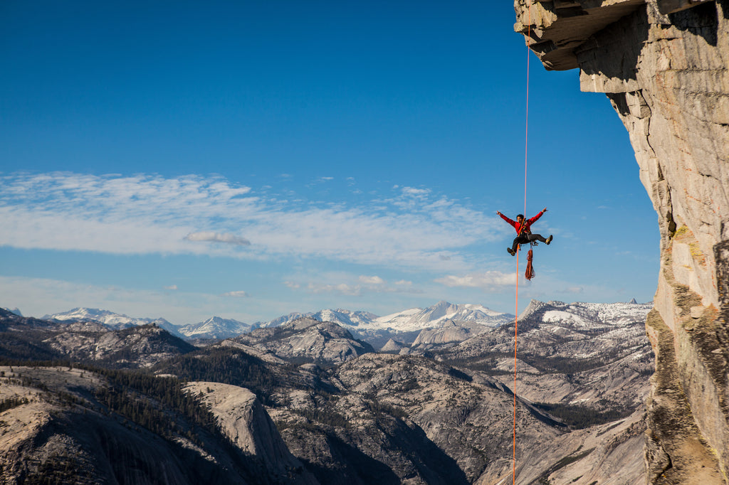 Jimmy Chin climbing in Yosemite: Photo credit Mikey Schaefer