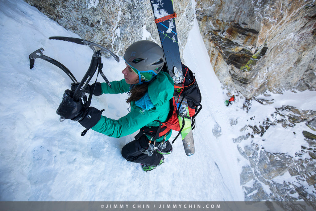 Kit DesLauriers ice climbing. Photo credit Jimmy Chin