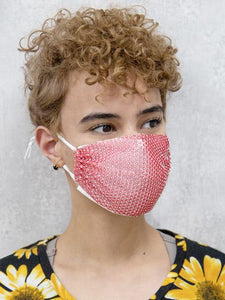 Double Layered Rhinestone Face Mask, Pink