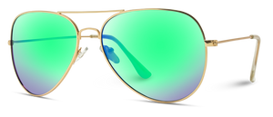 Mirrored Polarized Aviator Sunglasses, Gold Frame/Green Lens