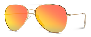 Mirrored Polarized Aviator Sunglasses, Gold Frame/Red Lens