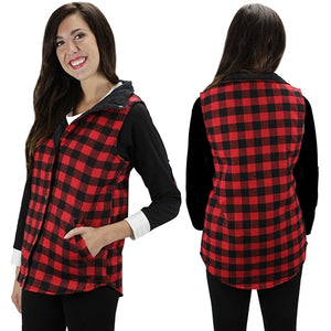 Buffalo Plaid Vest with Pockets, Red/Black