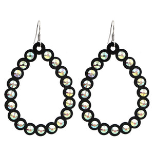 Open Cut Tear Drop Earrings, Black