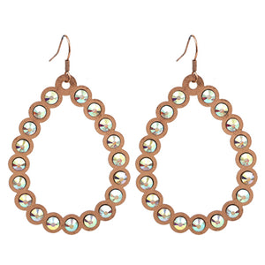 Open Cut Tear Drop Earrings, Rose Gold