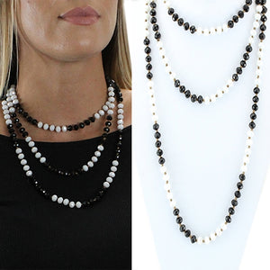 Crystal Beaded Necklace, Black and White