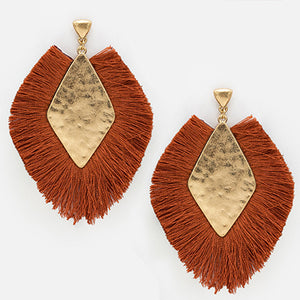 Diamond Shape Fan Tassel Earrings, Rust