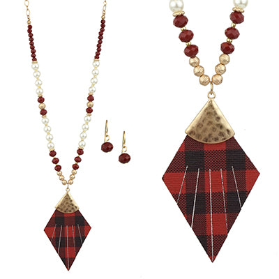 Trapezium Shape Shell Necklace Set, Red