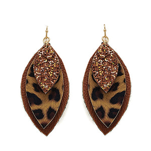 Three Layered Animal Print Glitter Earrings