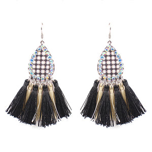Buffalo Plaid Teardrop Tassel Earrings, Black