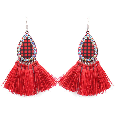 Buffalo Plaid Teardrop Tassel Earrings, Red