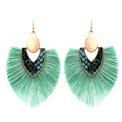 Snake Skin with Tassel Earrings, Mint