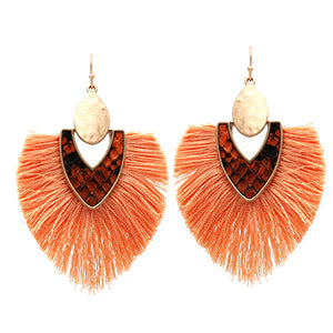 Snake Skin with Tassel Earrings, Peach