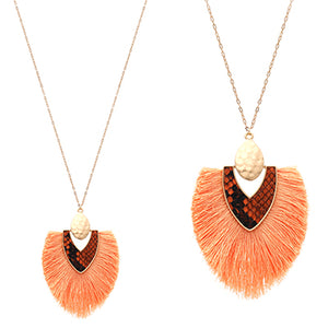 Snake Skin with Tassel Necklace, Peach