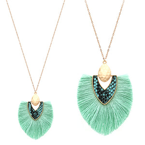 Snake Skin with Tassel Necklace, Mint