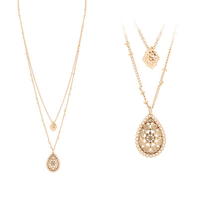 Double Layered Lace Filigree Necklace, Gold