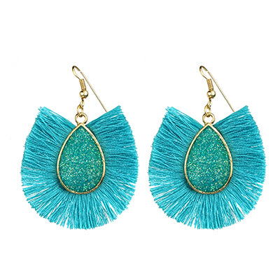 Fan Earrings, Turquoise and Gold