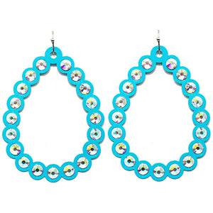Open Cut Tear Drop Earrings, Turquoise
