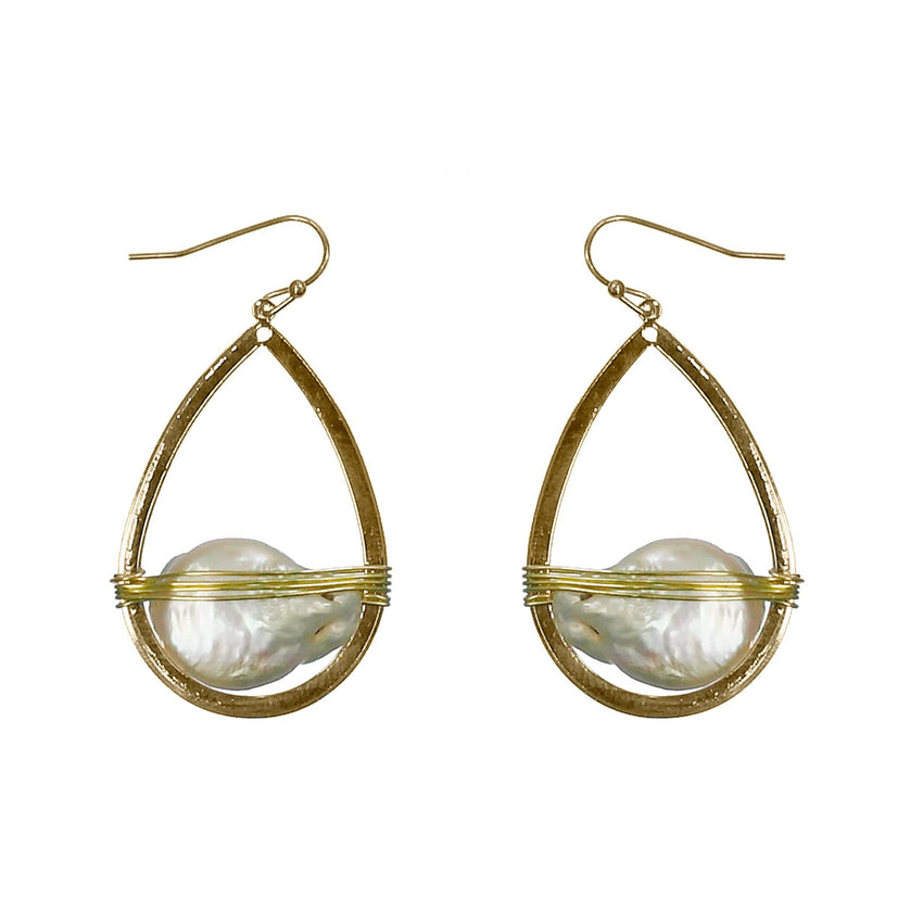 Teardrop with Wire Wrapped Pearl Earring, Gold