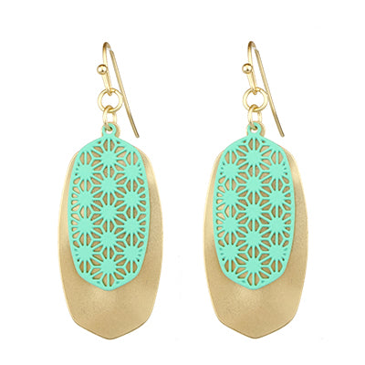 Gold and Mint Earrings