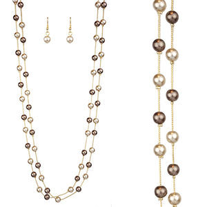 Double Pearl Chain Necklace Set, Brown
