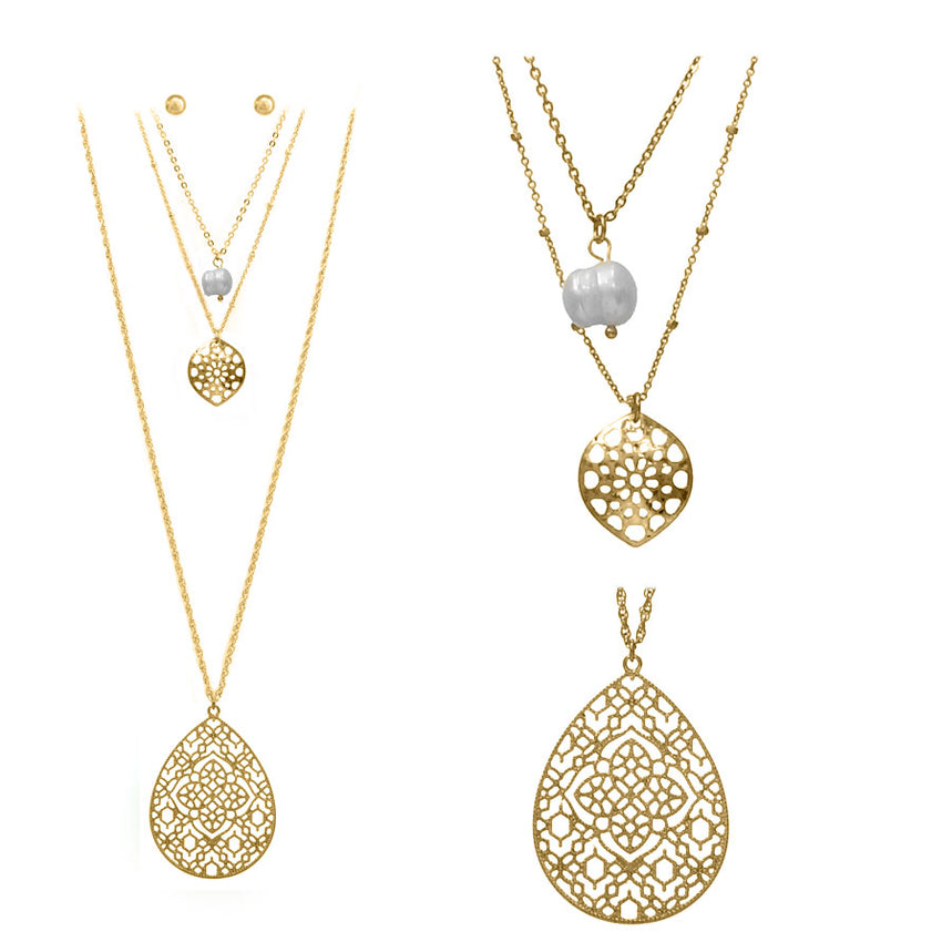 Teardrop Filigree Necklace, Gold