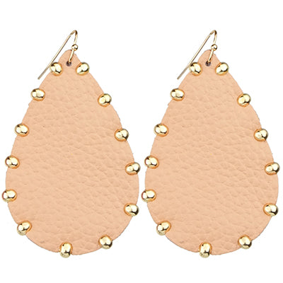 Leather Teardrop Earrings with Gold Studs, Peach