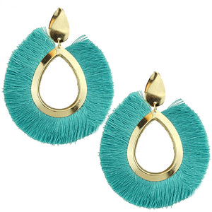 Teardrop Fan Tassel Earrings, Turquoise