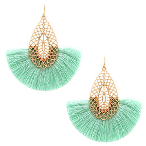 Fan Tassel Earrings, Mint
