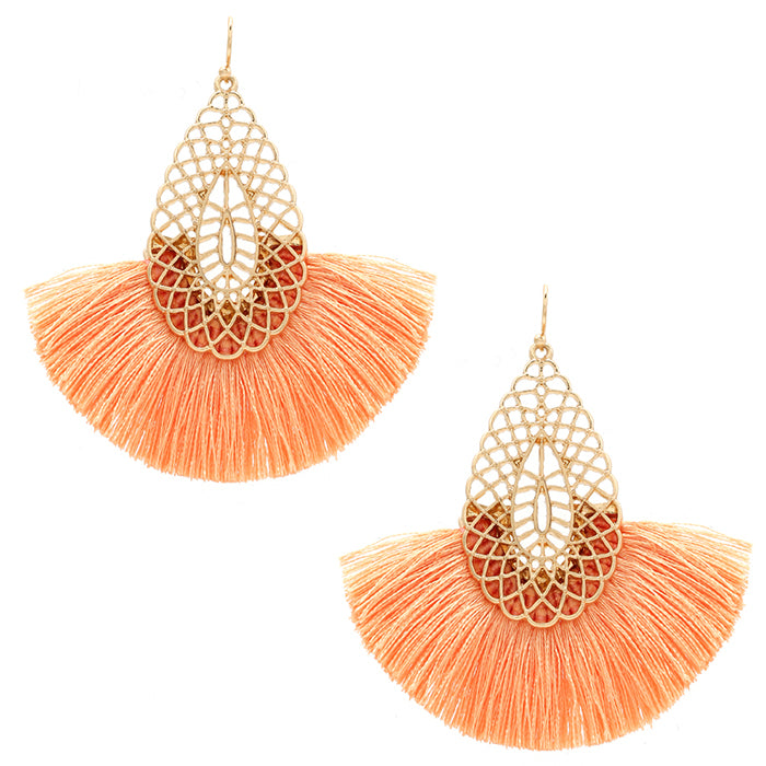 Fan Tassel Earrings, Peach