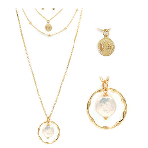 Pearl and Coin Pendant Layer Necklace Set, Gold