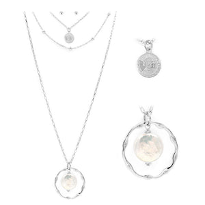 Pearl and Coin Pendant Layer Necklace Set