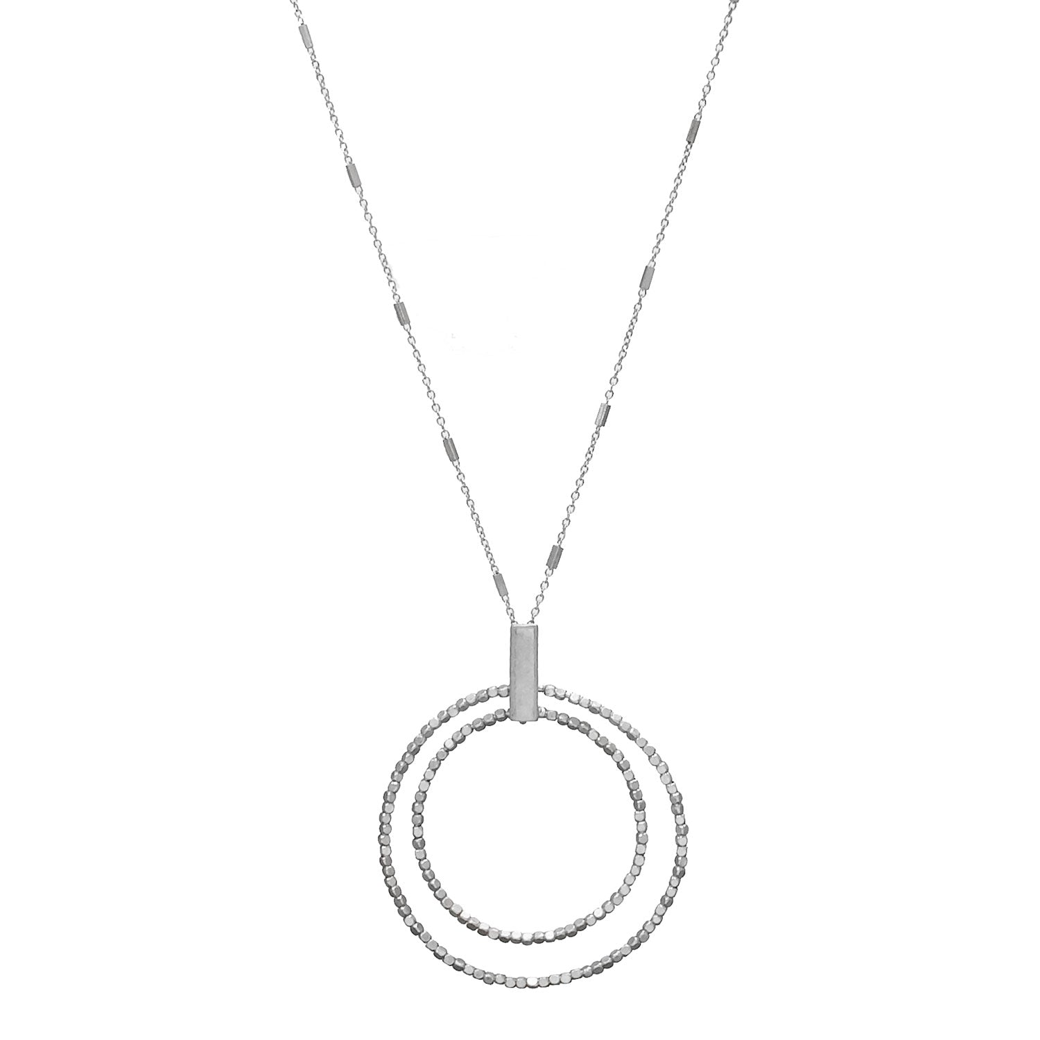 Circle Pendant Necklace, Silver