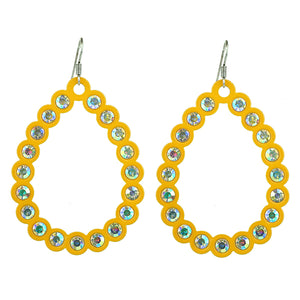 Open Cut Tear Drop Earrings, Mustard