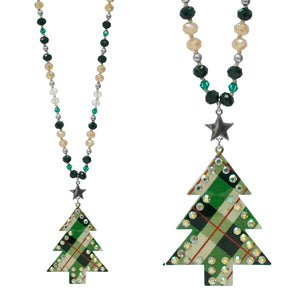 Christmas Tree Plaid Necklace, Green