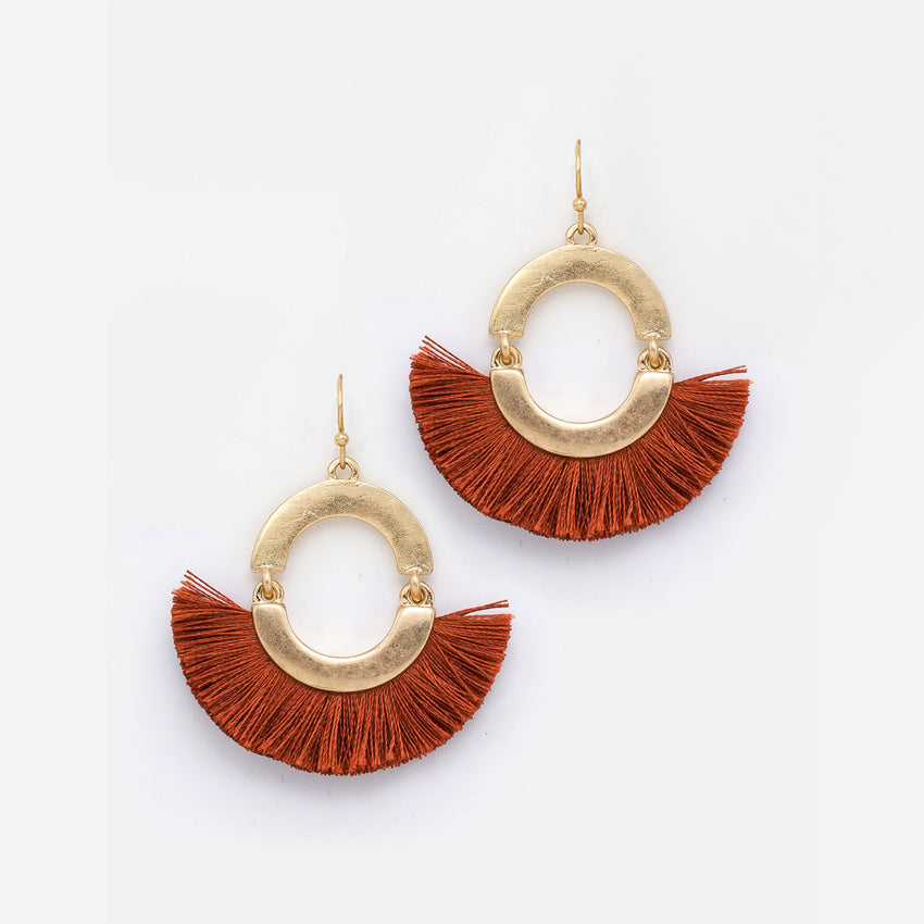 Fan Thread Tassel Dangle Earrings, Rust