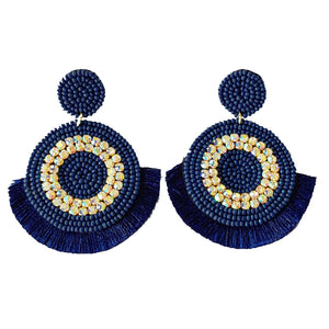 Bling Statement Earrings, Navy
