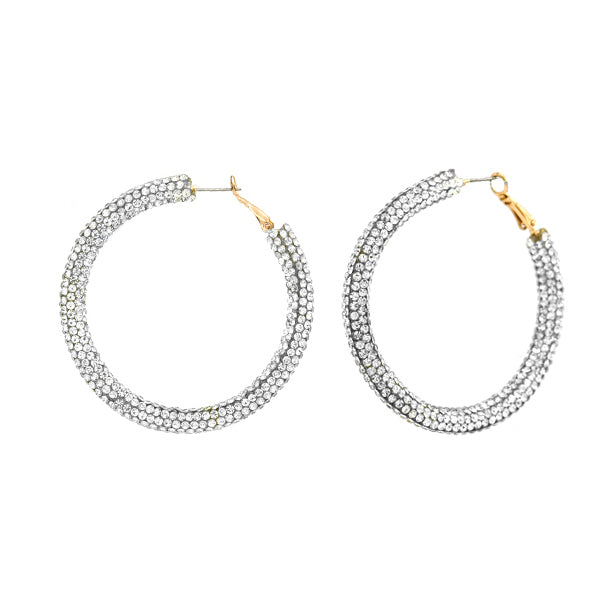 Rhinestone Hoop Earrings, Silver