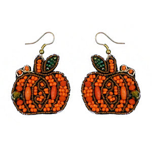 Pumpkin Bead Earrings, Orange