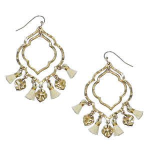 Moroccan Tassel Earrings, Cream