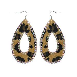 Leopard Fur Earrings With Rhinestones