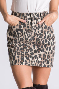 Leopard Print Mini Skirt with Side Pockets
