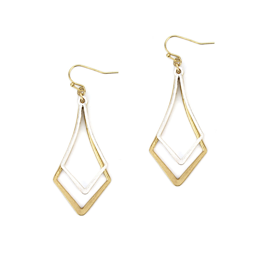 2pcs Metal Fashion Earrings, Silver and Gold