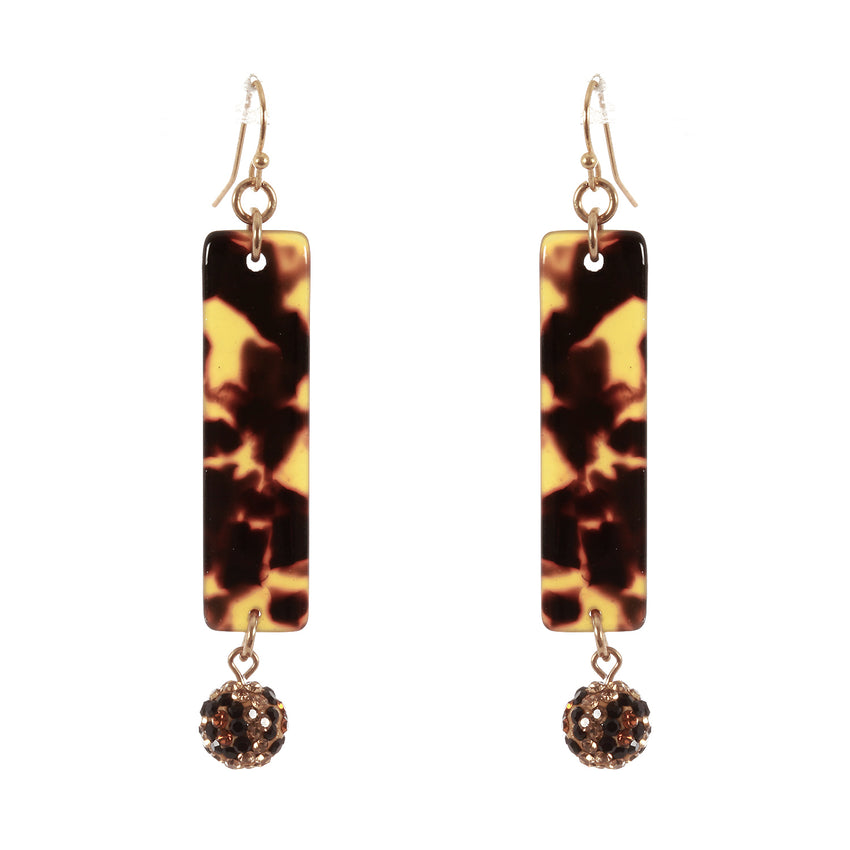 Pave Ball Drop, Rhinestone, Tortoise, Acetate Bar Earrings