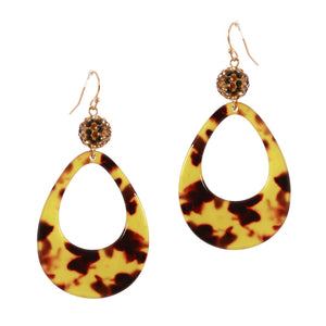 Pave Ball Drop,Tortoise ,Acetate, Teardrop Earrings