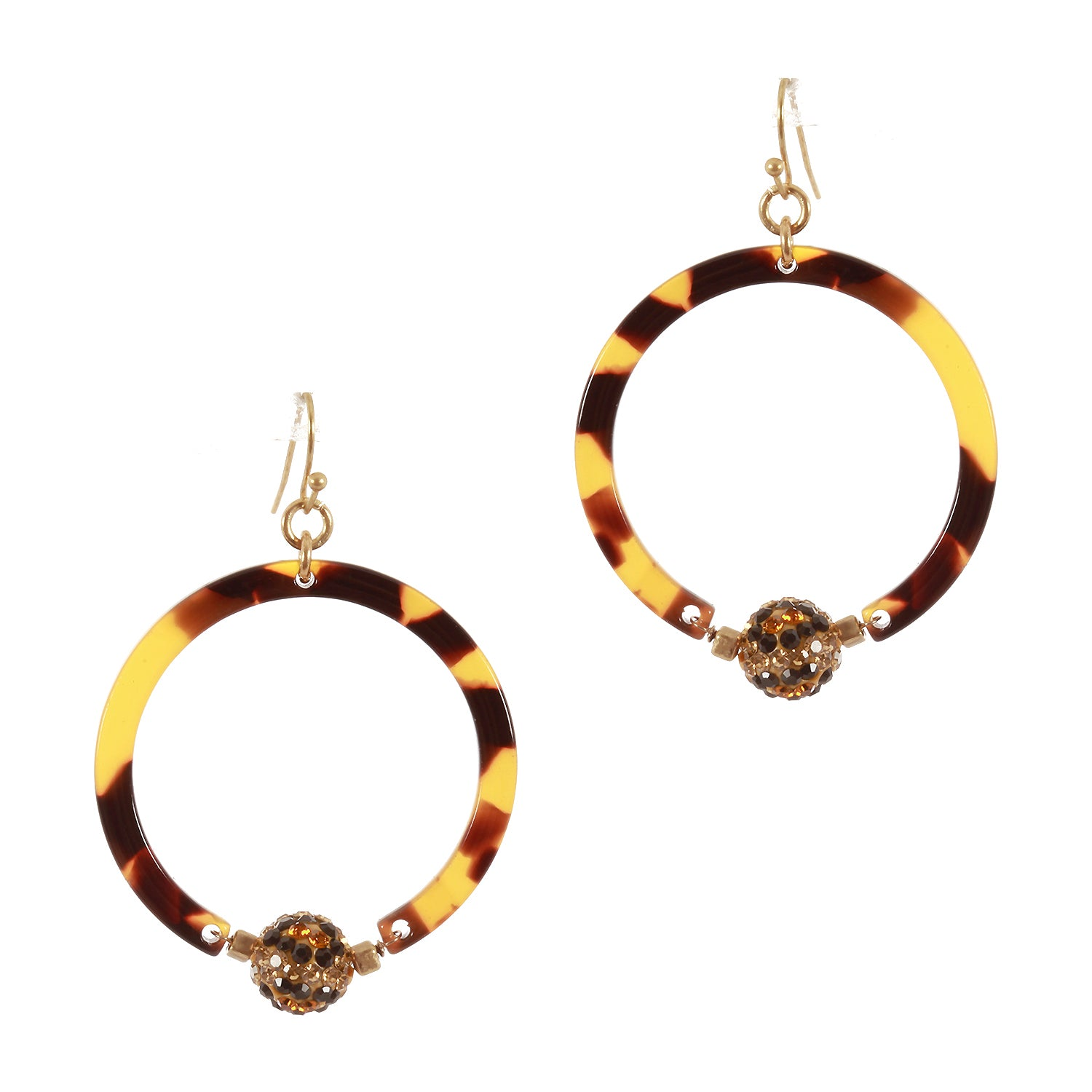 Pave Ball, Tortoise, Acetate Circle Earrings