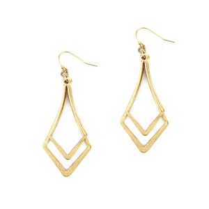 2pcs Metal Fashion Earrings, Gold