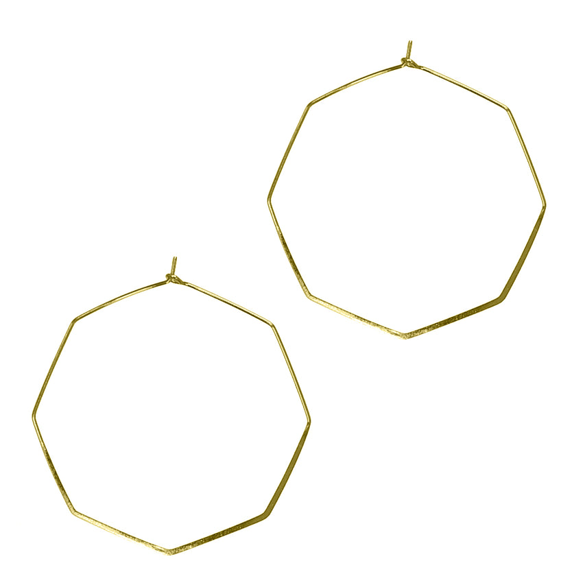 Thin Octagon Hoop Earrings, Gold