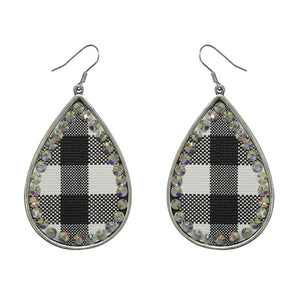 Buffalo Plaid Teardrop Earrings, Blk/Wht