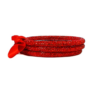 3 Pieces, Rhinestone Bangle Bracelet, Red